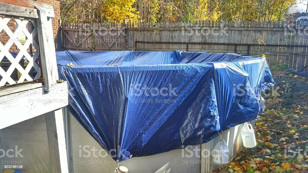Above Ground Swimming Pool Closed, Covered, Winterized, Canoe, Fenced Backyard stock photo