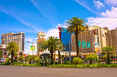 Las Vegas, United States of America - May 04, 2016: The ground view of Las Vegas Strip hotel resorts and casinos. Over 39.7 million people visit Las Vegas each year.