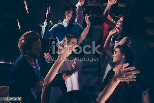 istock Above high angle view of cheerful classy beautiful attractive winsome glamorous gorgeous glad audience with raised hands, ladies and gentlemen, chill out at fashionable night club 1051243480