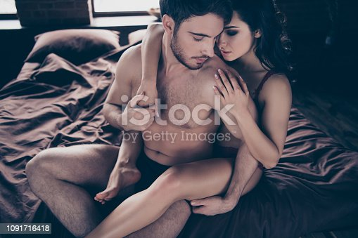 Above high angle view of her she his he two sweet lovely attractive fascinating luxury people married spouses lady hugging guy's back enjoying pleasure at industrial loft interior room