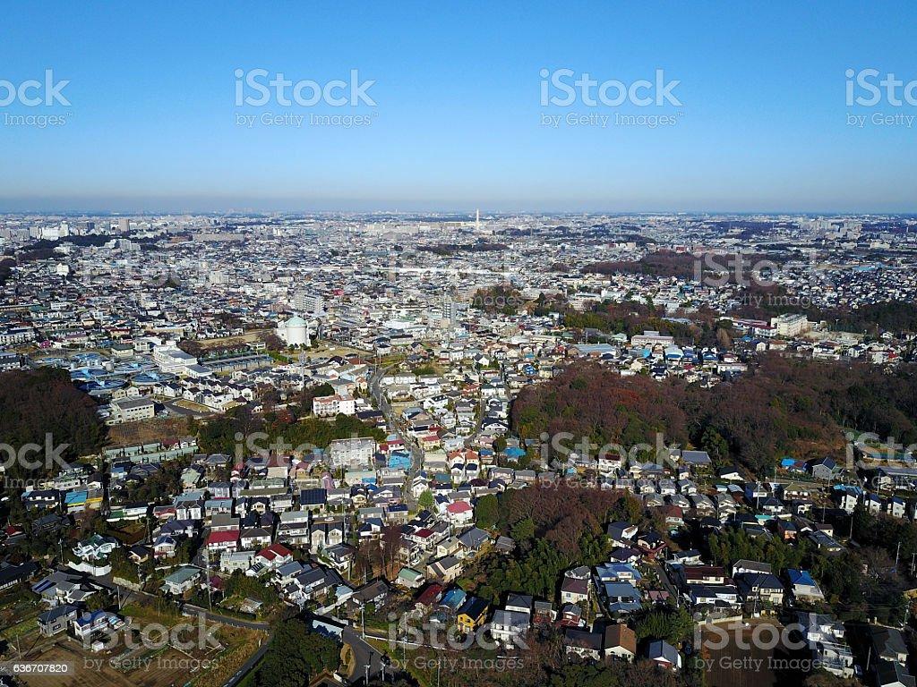 Above Ichikawa City, Chiba Prefecture stock photo