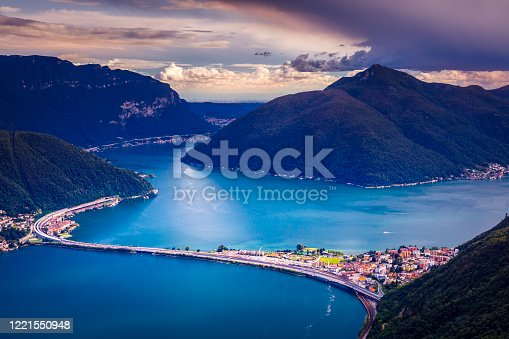 Above Lake Lugano at sunset and swiss alps landscape – Ticino, Switzerland