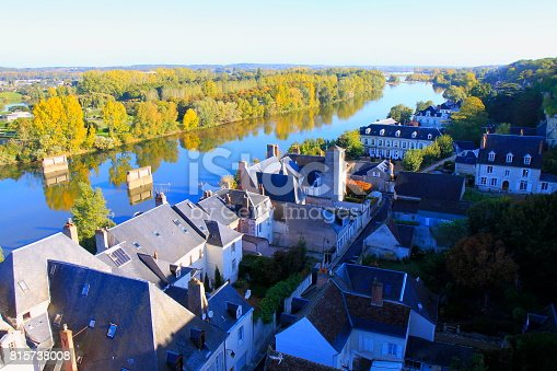 istock Above Medieval buildings in old town of Amboise, majestic Cityscape and idyllic river Loire reflections at sunrise,  gold colored autumn, Loire Valley, France 815738008