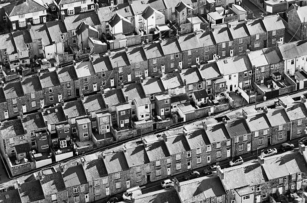 Above North East England in Black and White Above Consett in a hot air balloon northeastern england stock pictures, royalty-free photos & images