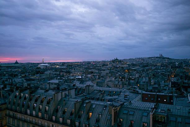 above paris at night - montmatre utsikt bildbanksfoton och bilder