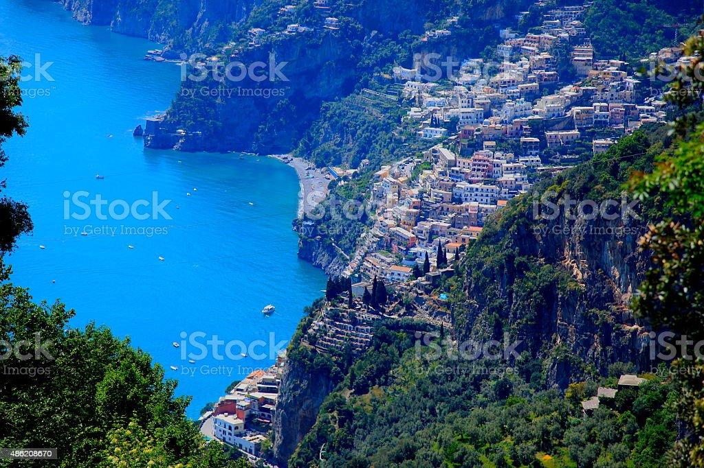 Above Positano and turquoise Amlafi Coast sea - aerial panorama stock photo