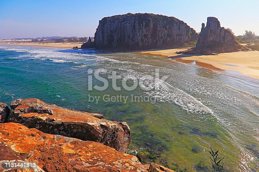 istock Above Sandy beach in Torres city with cliffs rock formations – Rio Grande do Sul 1131441813