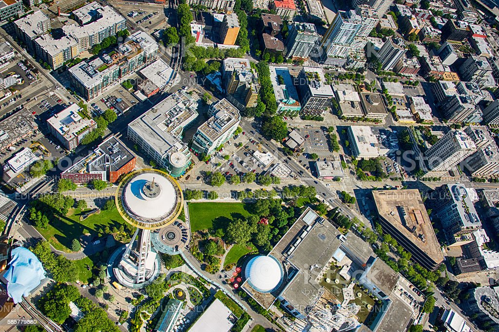 Above Seattle's Space Needle stock photo