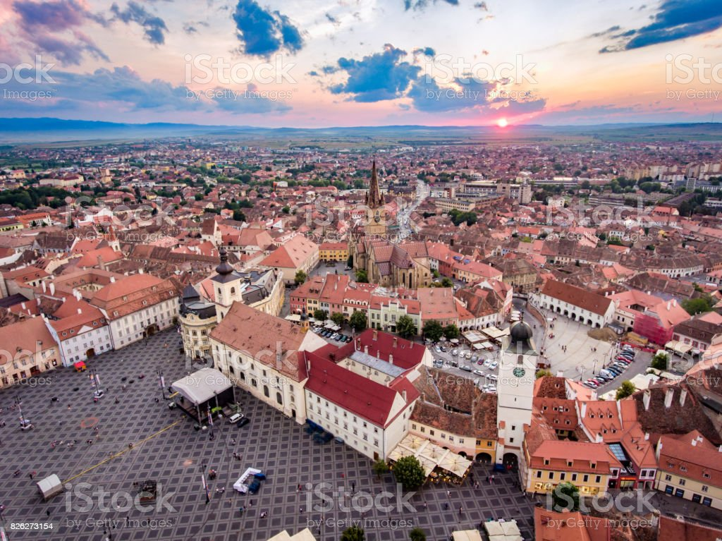 Above Sibiu at sunset stock photo