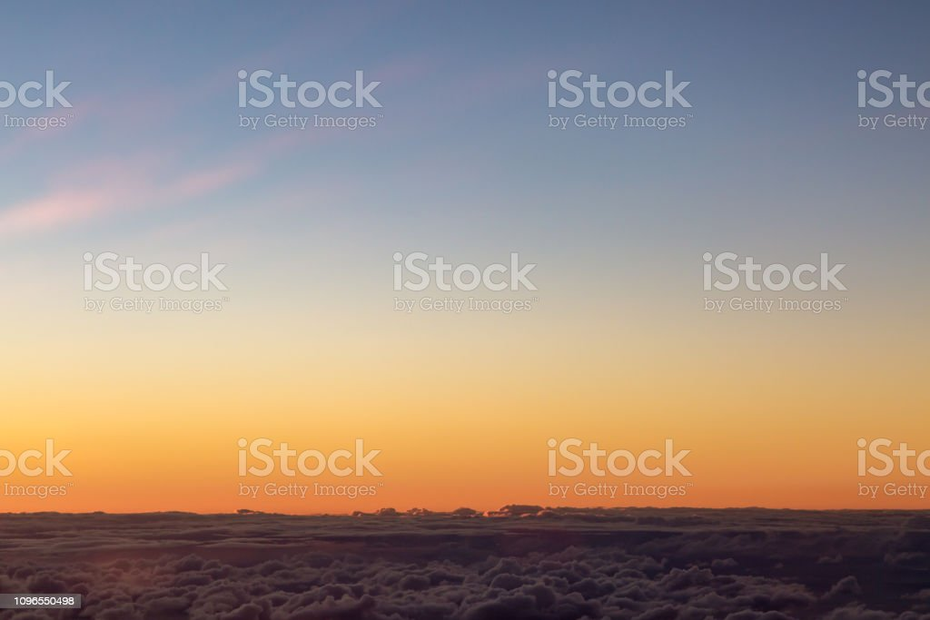 Above the Clouds at Sunset stock photo