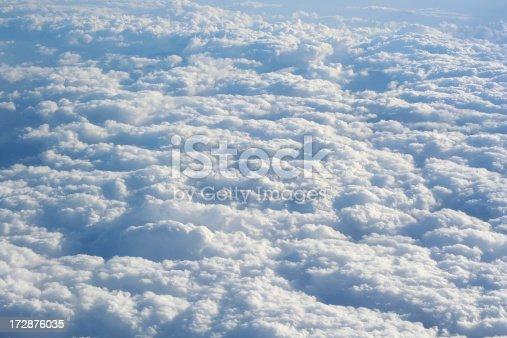 View of clouds from an airplane.