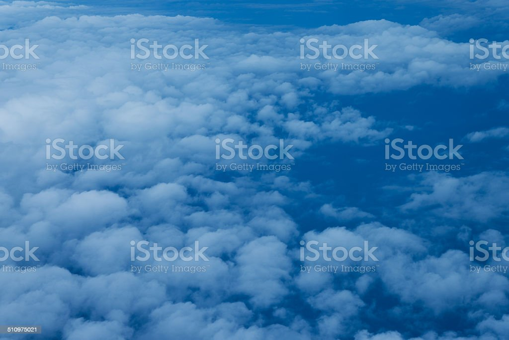 Aerial view of a series of cumulus.