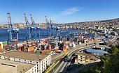 Valparaíso, Chile, December 12, 2018: Valparaíso is the main container and passenger port in Chile, transferring 10 million tons annually, and serves about 50 cruises and 150,000 passengers.