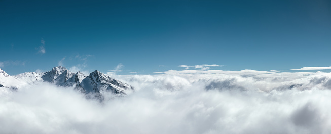 Majestic snowcapped mountains in France (Val Thorens). View from Cime Caron (3200m).