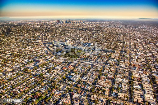 Wide angle view of the Los Angeles basin from about 2000 feet from Hollywood beyond downtown to East LA.