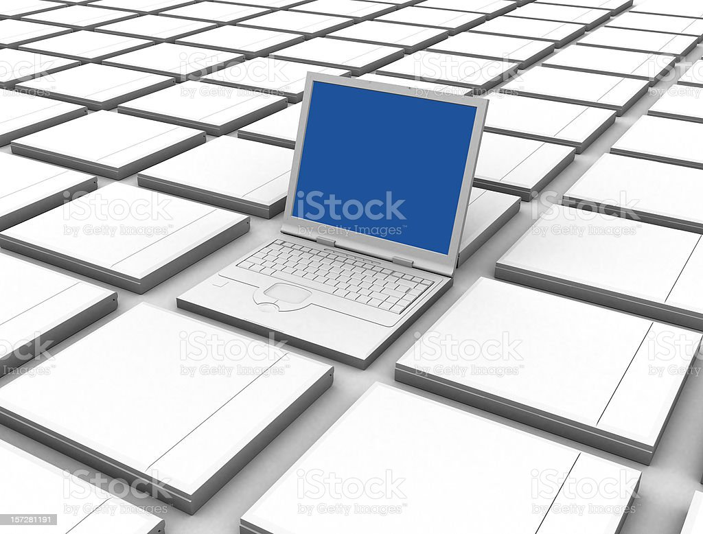 Above the rest - one laptop open 3d royalty-free stock photo