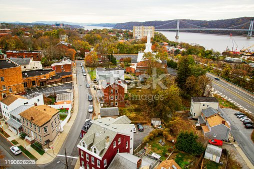 Aerial view of a town in the Hudson Valley