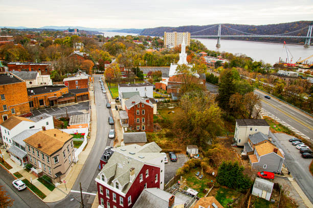 Above the town Aerial view of a town in the Hudson Valley hudson river stock pictures, royalty-free photos & images