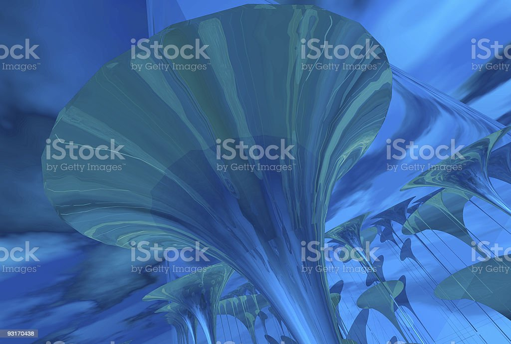 Above trumpets 04 blue royalty-free stock photo