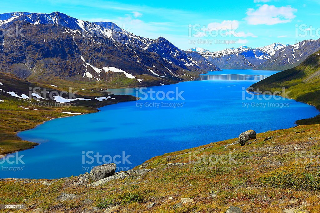 Above turquoise blue Lake Gjende from Above, Jotunheimen, Norway – Nordic Countries stock photo