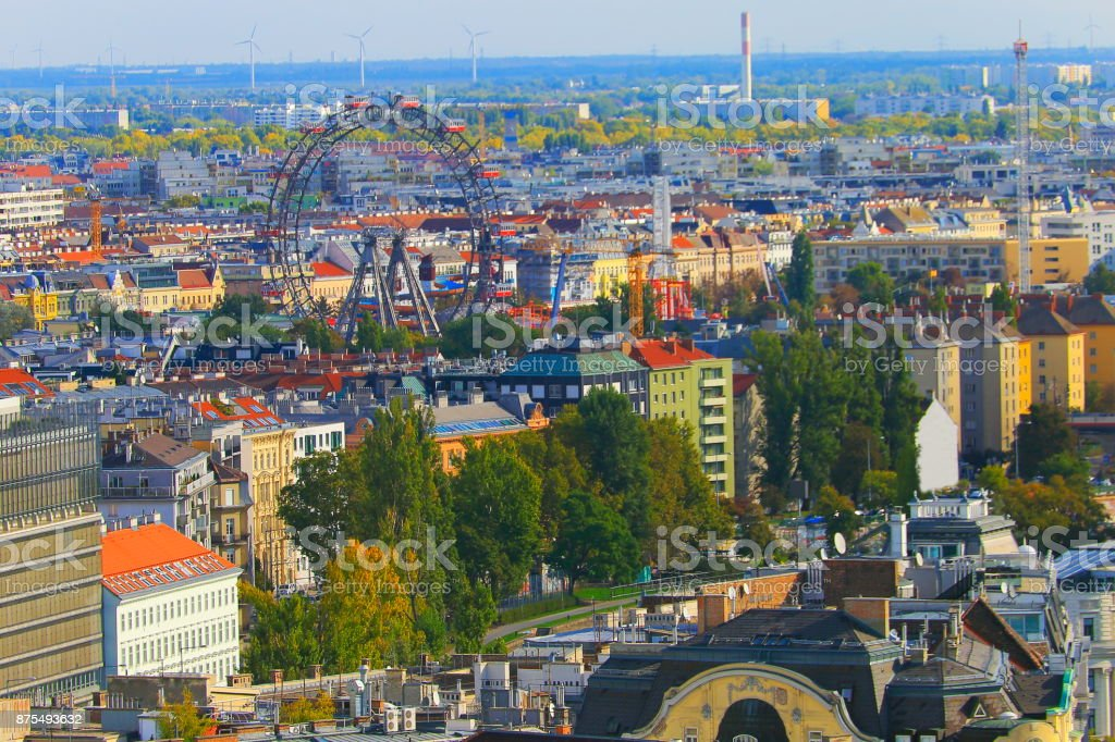 Above Vienna Cityscape, with famous international landmarks, Prater - urban skyline at sunset – Vienna , Austria stock photo