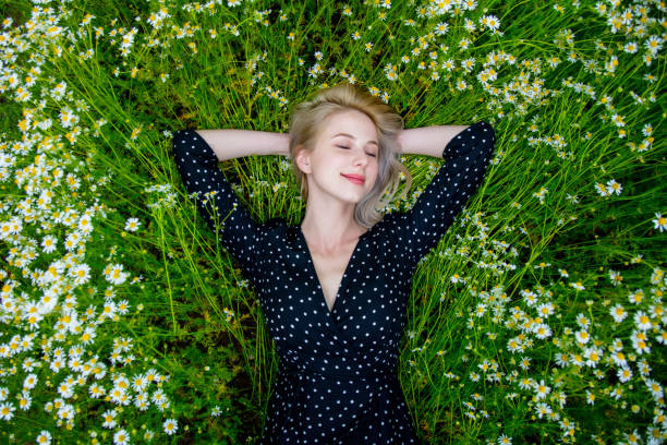 Above view at blonde woman in black dress lying in countryside chamomiles flowers meadow stock photo