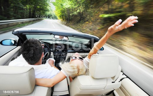 istock Above view of a couple driving in car. 184928756
