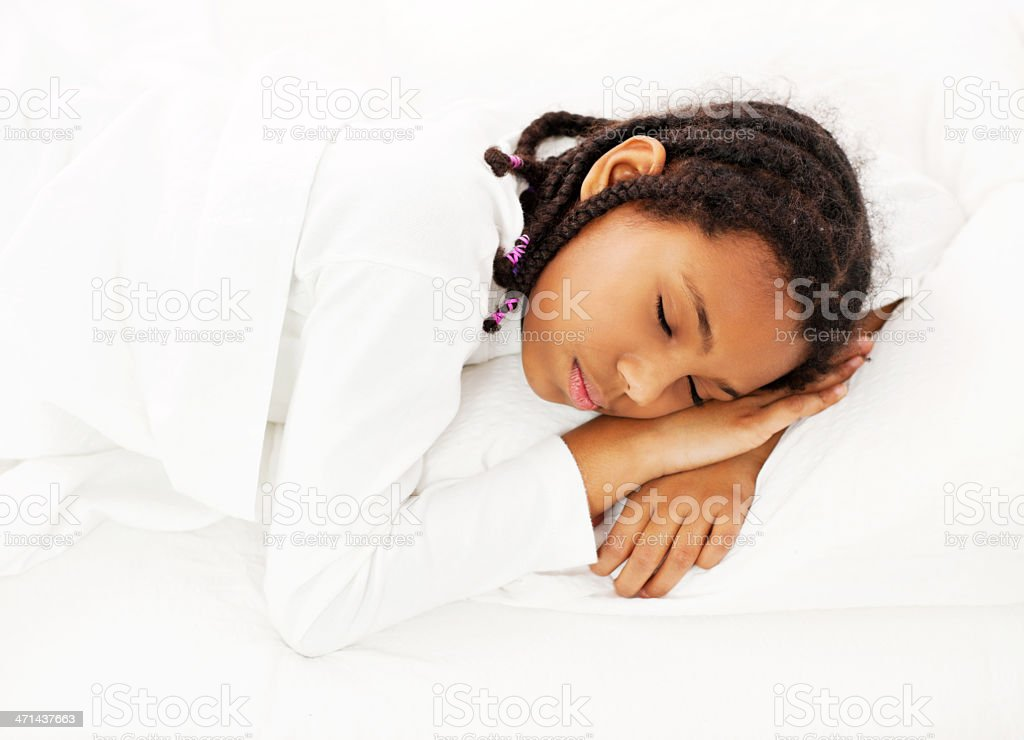 Above view of a girl sleeping stock photo