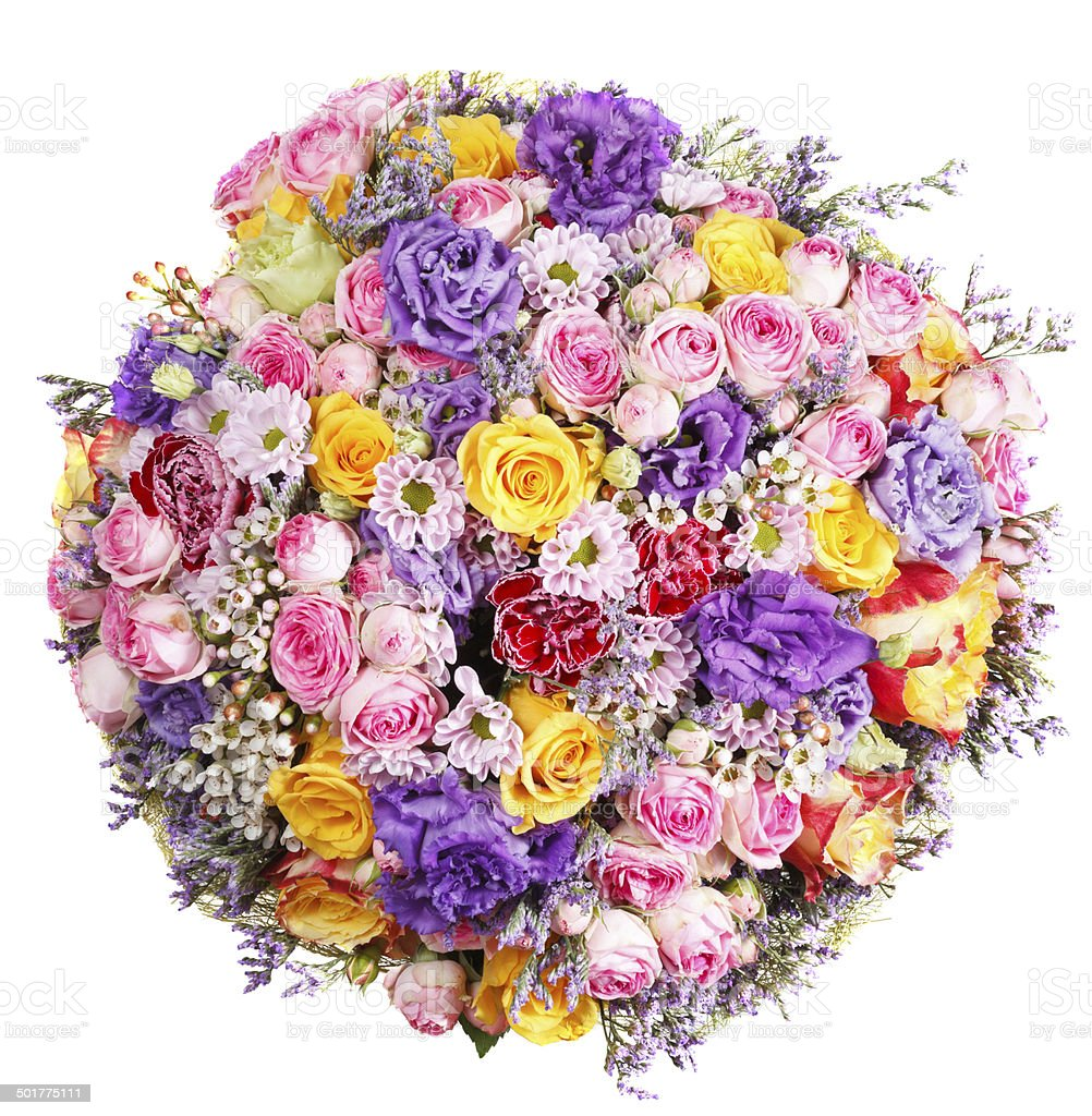 above view of bunch of flowers isolated stock photo