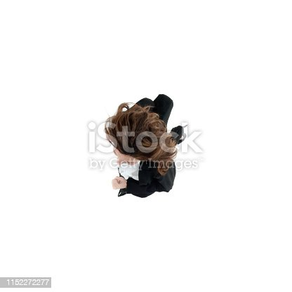 Above view of businesswoman running