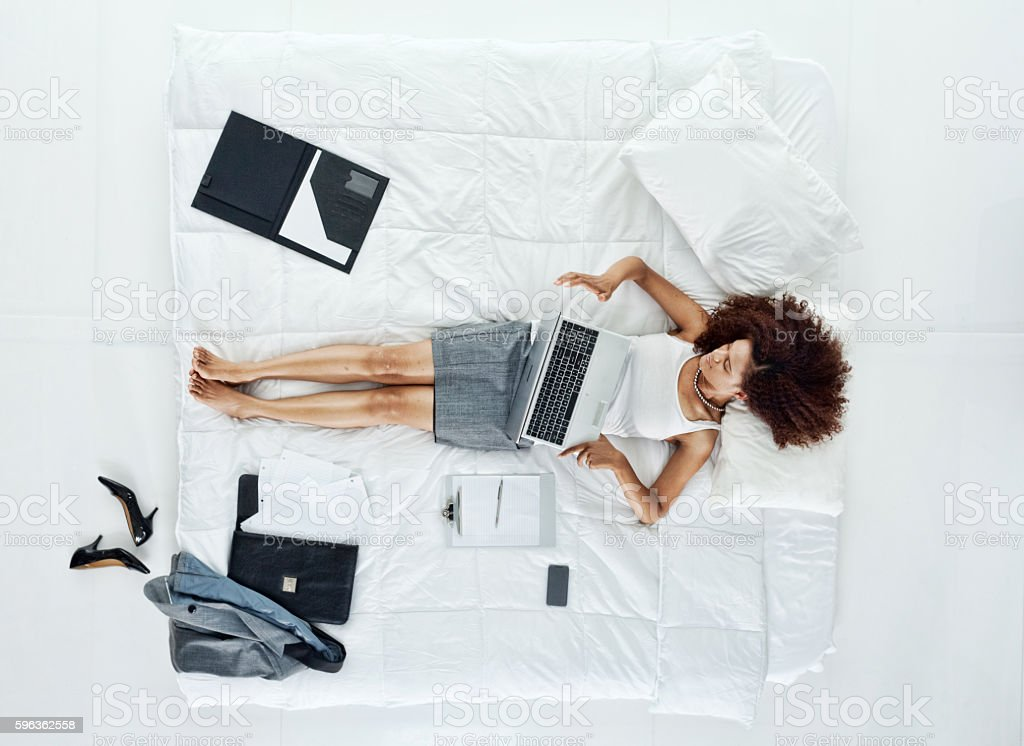 Above view of businesswoman working on laptop royalty-free stock photo
