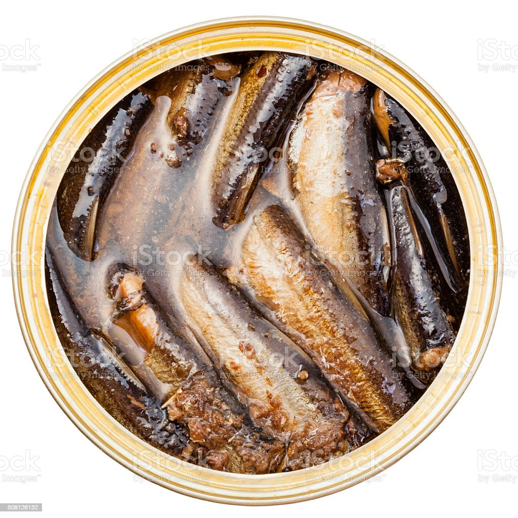 above view of canned smoked sprats fish in tin stock photo