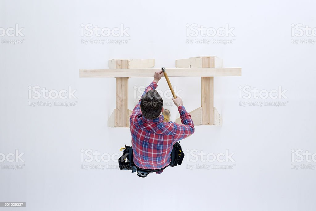 Above view of carpenter working stock photo