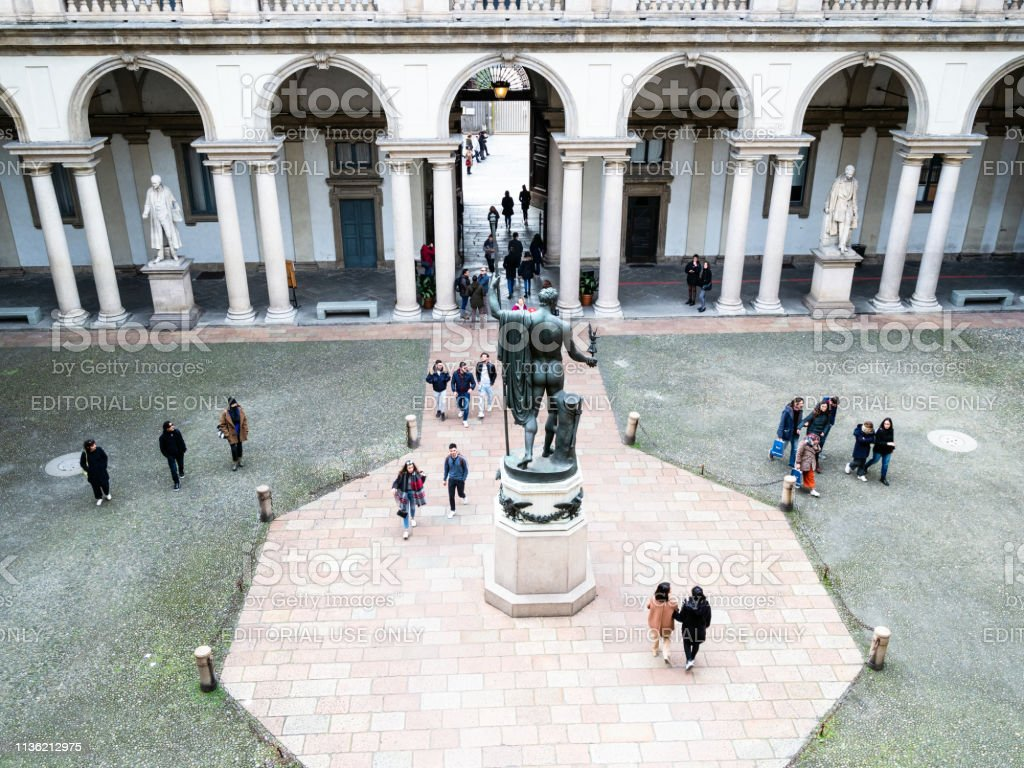 above view of courtyard of Palazzo Brera in Milan - foto stock