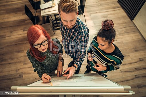 497812268 istock photo Above view of creative people developing a new business project on whiteboard at casual office. 672799744