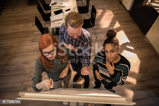istock Above view of creative people developing a new business project on whiteboard at casual office. 877339754