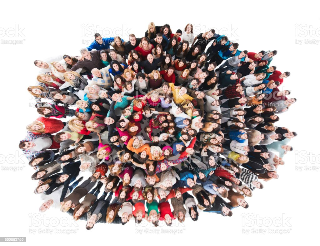 Above view of crowd of embraced mix-aged people in a circle. Isolated on white. - foto stock