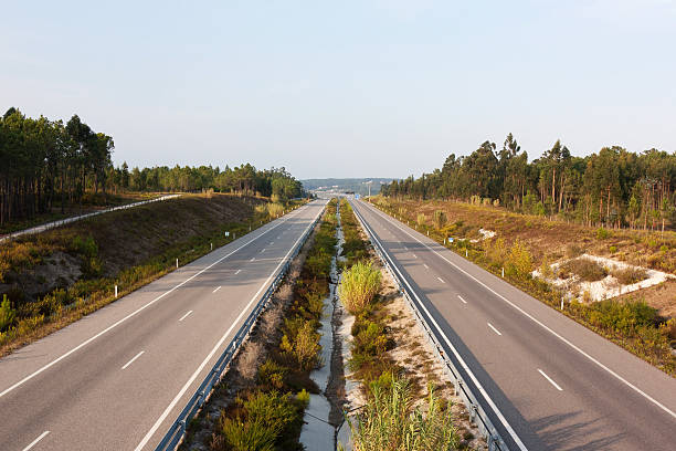 Above view of double lane highway in Portugal stock photo