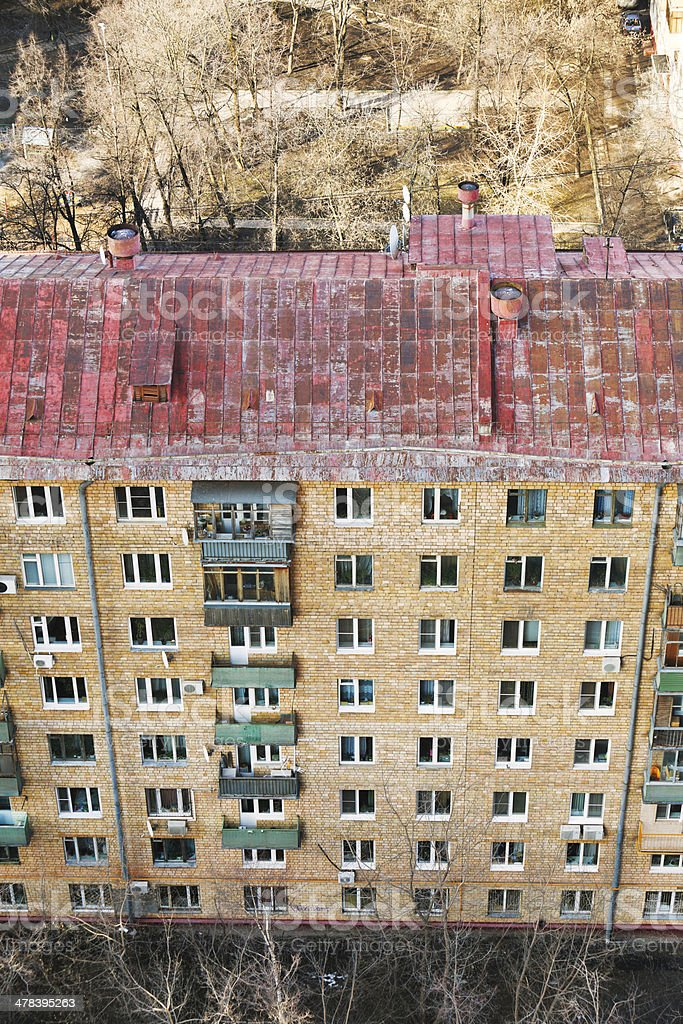 above view of facade of apartment house stock photo