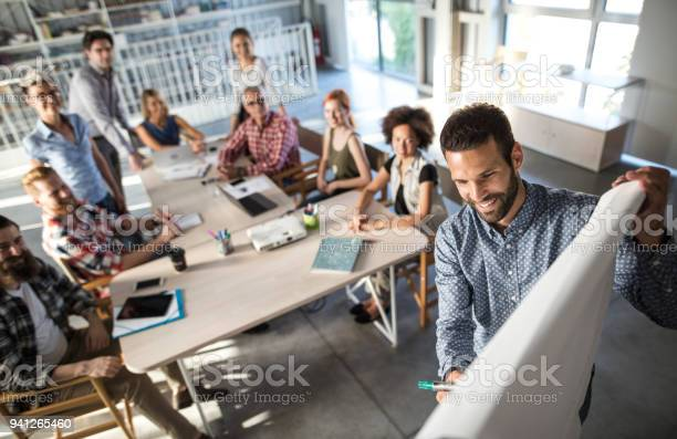 Above view of happy entrepreneur explaining the business plan to his picture id941265460?b=1&k=6&m=941265460&s=612x612&h=dwscscuu56e4jqtfejl5kpyrvtxws0sbgklpvhl28fu=