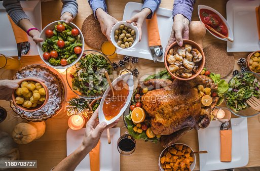 High angle view of unrecognizable people passing side dishes during Thanksgiving dinner at dining table.