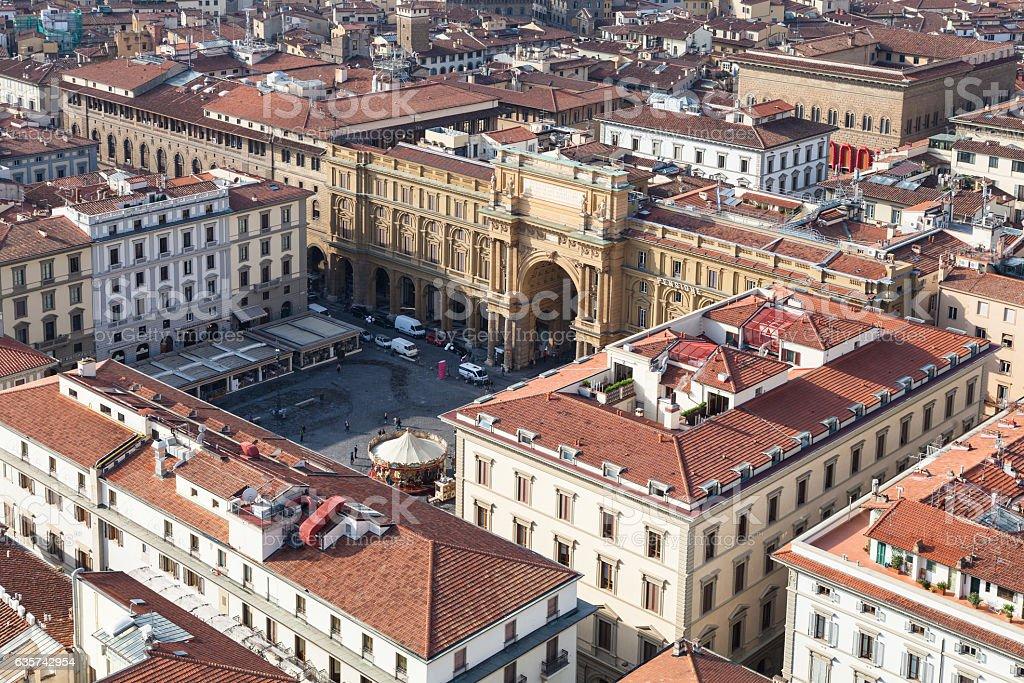 above view of Piazza della Repubblica in Florence stock photo