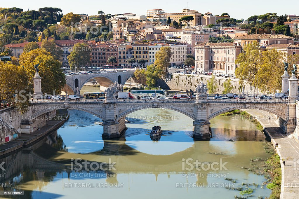above view of Rome and bridge Vittorio Emanuele II stock photo