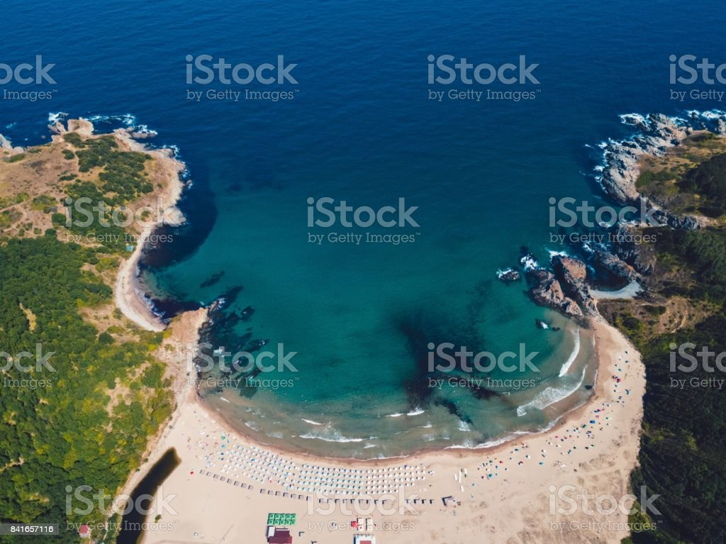 Above view of seashore stock photo