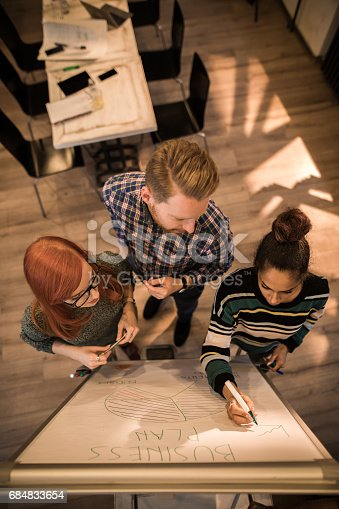 istock Above view of start up team developing new business strategy on whiteboard. 684833654