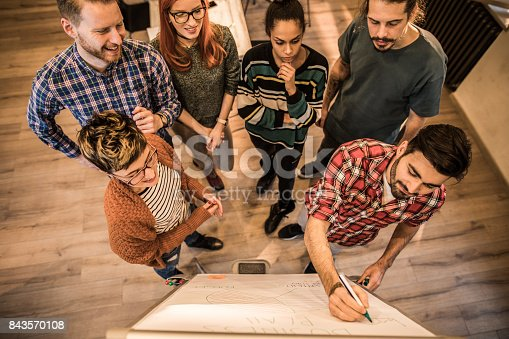 istock Above view of start up team writing a business plan in the office. 843570108