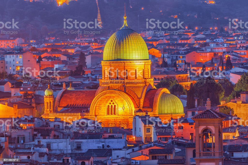 Above view of the Great Synagogue of Florence (Sinagoga e Museo Ebraico).Synagogue in the historic center of Florence. It is the biggest synagogue in the city. stock photo