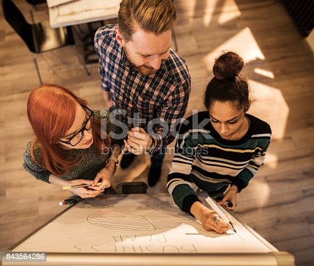 497812268 istock photo Above view of three people writing a business plan on a whiteboard. 843564286
