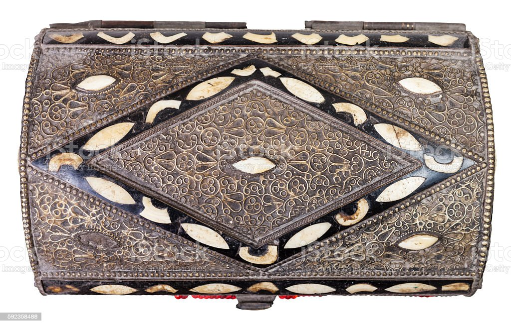 above view of traditional ancient arabic Casket stock photo