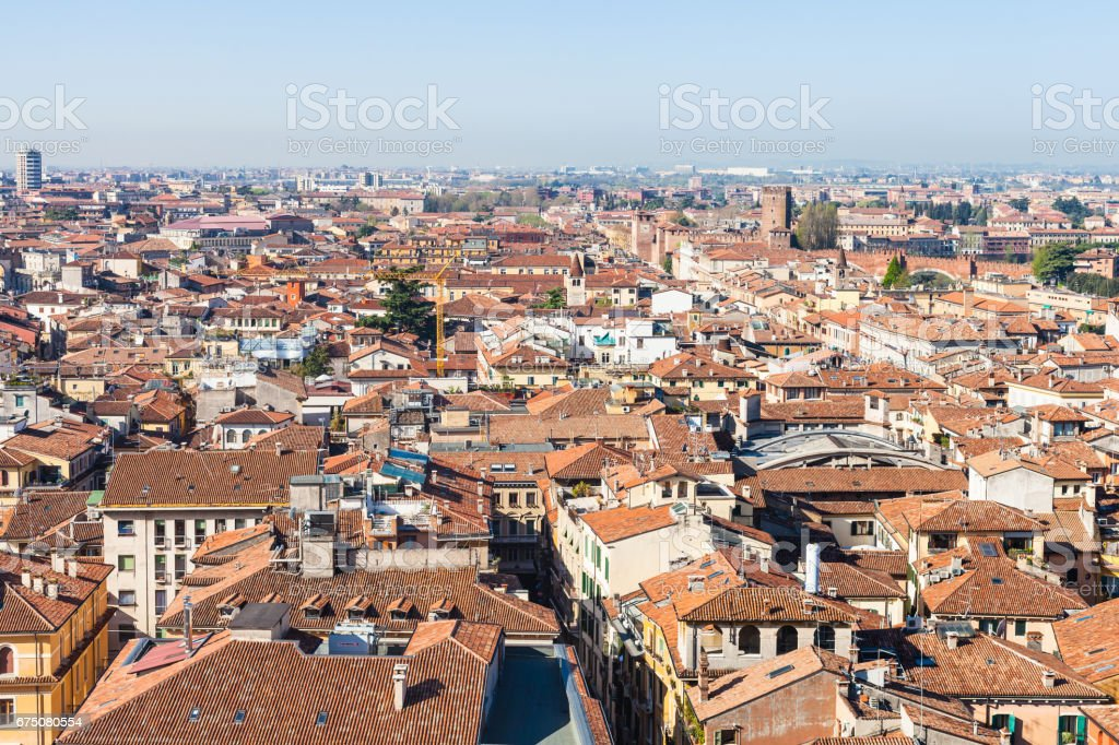 above view of Verona city with Scaliger castle stock photo